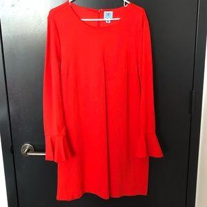 CeCe Orange Long Sleeved Flutter Sleeve Dress